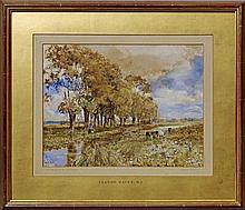 Claude Hayes RI ROI, Irish 1852-1922- ''On the banks of the Kennet''; watercolour, signed, 25.2x33.2