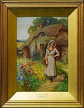 William Affleck, British 1869-1943- ''The Village Belle''; watercolour, signed, 40x28cm Provenance: