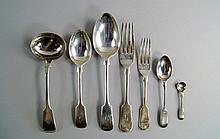 An Edward VII silver canteen of flatware, Sheffield c.1903 &1904, Walker & Hall, fiddle pattern, com