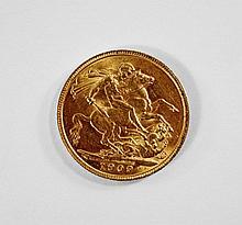 An Edward VII gold sovereign, 1909, approx 7.98g.