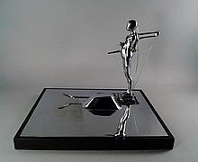 Ernest Tino Trova, American 1927-2009- ''Study: Falling Man Series (Landscape)'', 1965; chrome plate