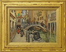 Colonel Robert Charles Goff, Irish 1837-1922- A Bridge over the Venice Canal; watercolour, signed wi