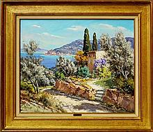 Lucien Potronat, French 1889-1974- View on the Cote d'Azur; oil on canvas, signed, 54x65cm (may be s
