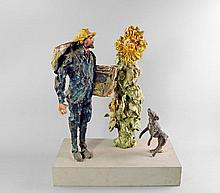 John Wragg RA, British b.1937- Vincent Van Gogh, Dog and Sunflower; polychrome jesmonite, unique, 49
