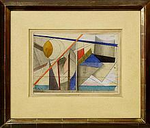 Boris Danilovich Korolev, Russian 1884-1963- Abstract constructivist composition; pencil, coloured p