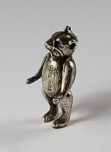 A rare silver novelty pin cushion, Birmingham c.1909, H. V Pithey & Co, modelled as a bear, with art
