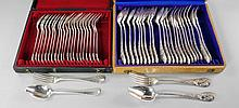 A cased set of Belgian 800 standard silver table spoons and forks, twelve of each, together with a c