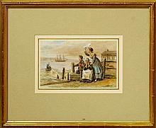 George Goodwin I Kilburne, British 1839-1924- Farewell to a sailor; watercolour, signed, 13.7x22.2cm