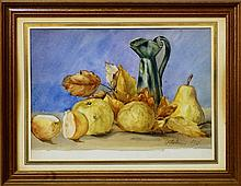 British School, early 20th century- Autumnal still life; watercolour, dated October 1911 in pencil,