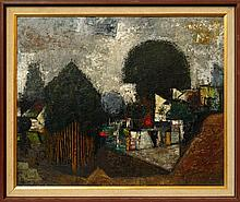 Louis Robert James, Australian 1920-1996- ''Farmyard''; oil on board, signed and dated '53, 61x74cm