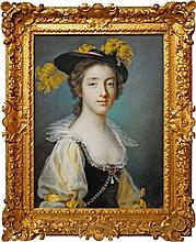 Francis Cotes RA, British 1726-1770- Portrait of Ann Wordsworth, bust-length, in a yellow-plumed hat