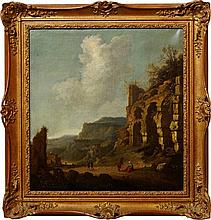 Follower of Jacob van der Ulft, Dutch 1627-1689, late 17th/early 18th century- Ruins in Italy; oil o