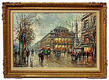 Antoine Blanchard, French 1910-1988- Parisian boulevard scene; oil on canvas, signed, 61x91.5cm (may