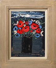 Christine L McArthur RSW RGI, Scottish b.1953- ''Lochside Anemones'' 2010; acrylic, signed, 38.4x28.