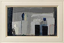 Christine L McArthur RSW RGI, Scottish b.1953-  ''Lucie Rie's Window with Blue Feather''; mixed medi