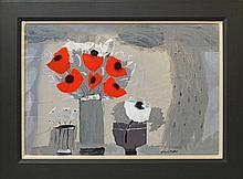 Christine L McArthur RSW RGI, Scottish b.1953- ''Red poppies''; mixed media, signed, 58x84cm, (may b