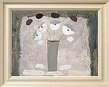 Christine L McArthur RSW RGI, Scottish b.1953-  ''Cloud Five''; mixed media on panel  signed, 63.5x8