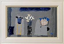 Christine L McArthur RSW RGI, Scottish b.1953- ''Lucie Rie's Window with Night Sky''; mixed media on