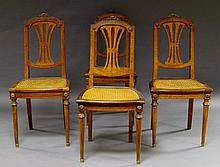 A set of eight French burr walnut and mahogany ormolu mounted dining chairs, with pierced splat, abo