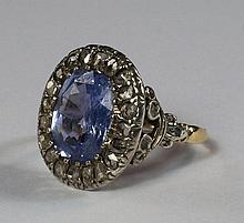 A sapphire and diamond cocktail ring, late 1920s,