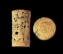 A Chinese carved ivory cover, 19th Century, of cir