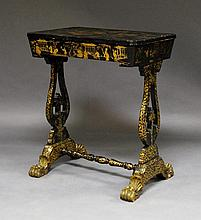 A Chinese export black lacquer work table, c. 1840