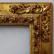 A Spanish Carved and Gilded Frame, 17th century, w