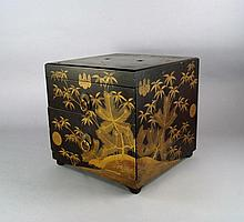 A Japanese lacquer and gilt box, with two drawers,