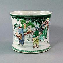 A Chinese porcelain famille vert brush pot, late 1