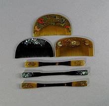 Two Japanese semi circular comb form hair ornament