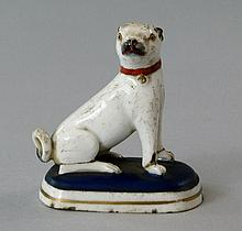 A Chamberlain's Worcester Masonic model of a pug,