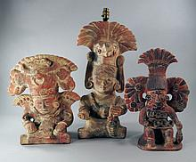 Three Mexican terracotta figures, 20th century,