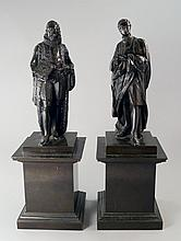 A pair of bronze figures of Sir Isaac Newton and