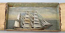 A wood ship diorama, 19th century, depicting a