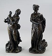 Two patinated bronze figures of maidens, 19th