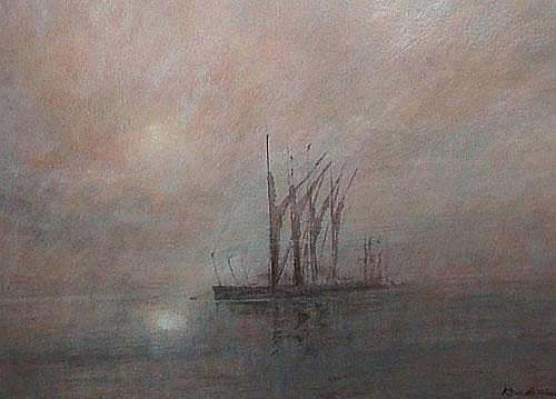 Ken Hildrew b.1934- Boat moored in foggy waters;
