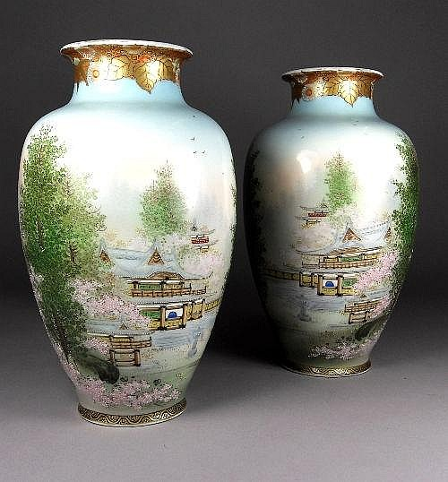 A pair of Japanese baluster vases, 20th century,