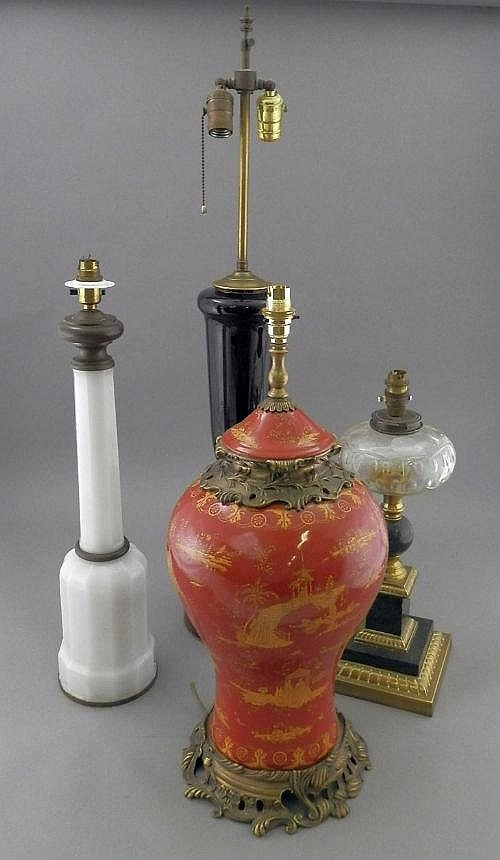 A ruby glass vase lamp, 20th century, of urn form
