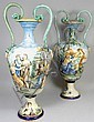 A pair of colourful Italian majolica baluster