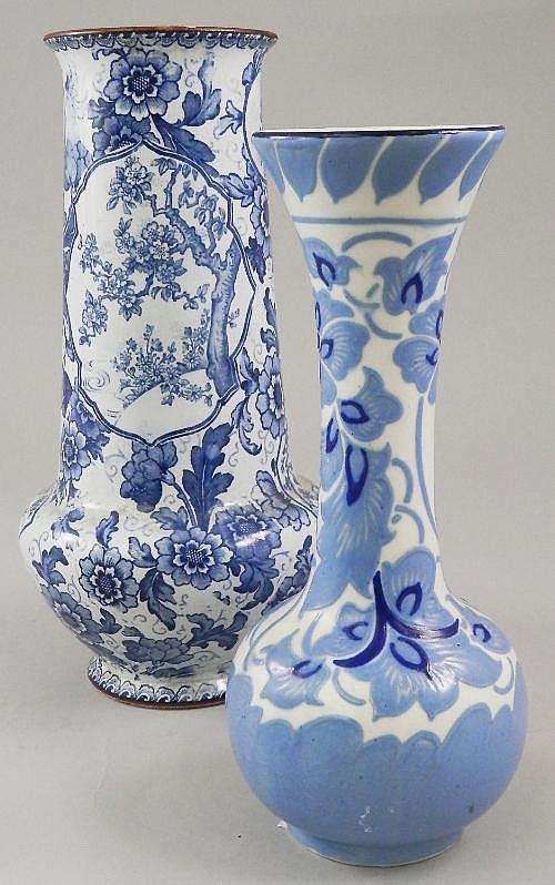 A Bonn Tokio pattern blue and white vase, late