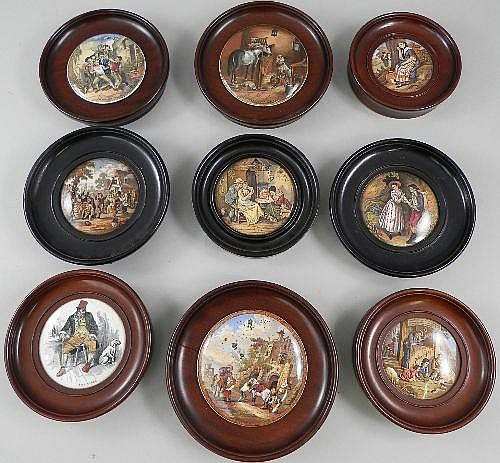 Nine Victorian pot lids, by mainly Milne & Co,