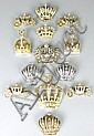 A collection of 9 crystal and pearl set crown
