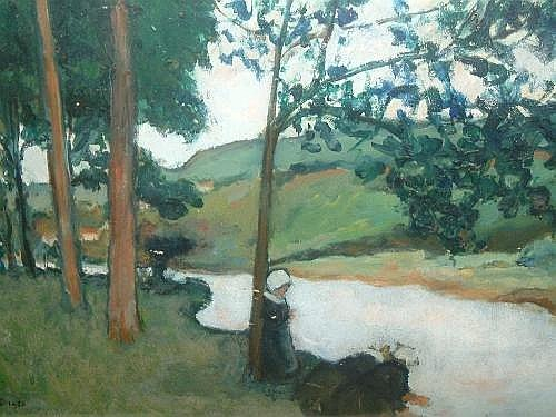 Fernand Piet- Breton women by a woodland river shore; oil on board, signed and dated 1925, 37.2x52.4cm
