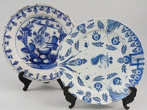 An large Continental Delft blue and white dish,
