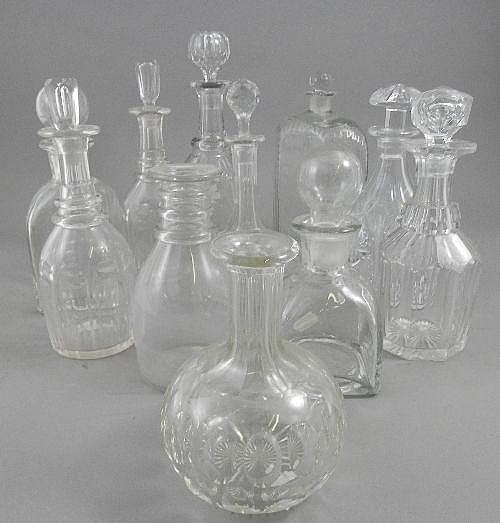 A glass decanter with stopper, 19th century, of
