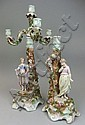 A pair of four branch figural Meissen style