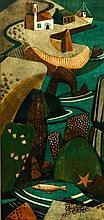 Lill Tschudi, Swiss 1911-2004- ''Im Hafen''; linoc