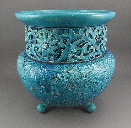A Burmantofts style blue jardiniere, of circular