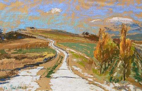 Paul Masset b.1967- A country lane in winter;
