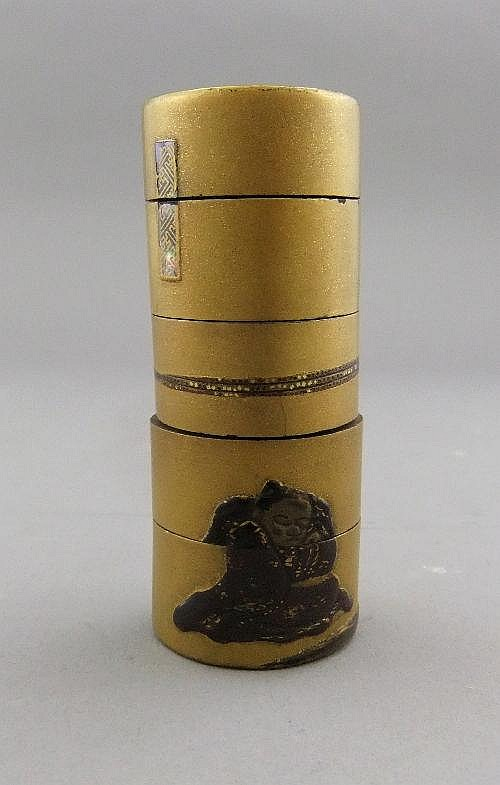 A Japanese gilt and lacquered Inro, Meiji period,